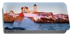 Portable Battery Charger featuring the photograph The Nubble In Winter, Cape Neddick, Maine  -21022 by John Bald