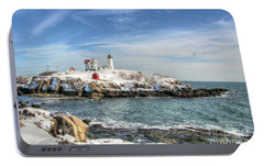Portable Battery Charger featuring the photograph The Nubble Light by Adrian LaRoque