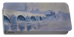 The Old Bridge Of Maastricht In Morning Fog Portable Battery Charger