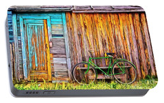 Portable Battery Charger featuring the painting The Old Green Bicycle by Edward Fielding