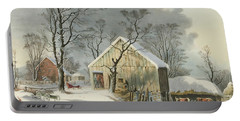 The Old Homestead In Winter, 1864  Portable Battery Charger