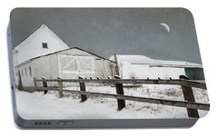 Portable Battery Charger featuring the photograph The Old White Barn by Robin-Lee Vieira