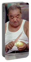 Portable Battery Charger featuring the photograph The Onion Man by Frank DiMarco