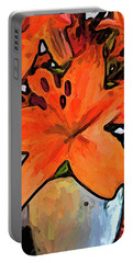 The Orange Lilies In The Mother Of Pearl Vase Portable Battery Charger