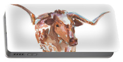 The Original Longhorn Standing Earth Quack Watercolor Painting By Kmcelwaine Portable Battery Charger