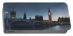 The Palace Of Westminster London Oil On Canvas Portable Battery Charger