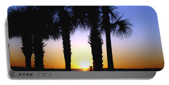 The Palms At Sunset Portable Battery Charger by Debra Forand