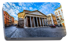 Portable Battery Charger featuring the painting The Pantheon Rome by David Dehner