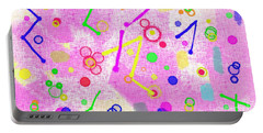 Portable Battery Charger featuring the digital art The Party Is Here by Silvia Ganora