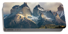 The Peaks At Sunrise Portable Battery Charger by Andrew Matwijec