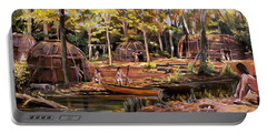 Portable Battery Charger featuring the painting The Pequots by Nancy Griswold