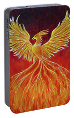 Portable Battery Charger featuring the painting The Phoenix by Teresa Wing