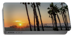 The Pier At Sunset - Square Portable Battery Charger