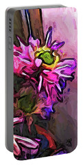 The Pink And Purple Flower By The Pale Pink Wall Portable Battery Charger