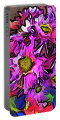 The Pink And Purple Flowers In The Red And Blue Vase Portable Battery Charger