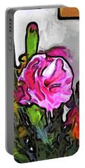 The Pink Flower With The Burgundy Buds Portable Battery Charger