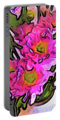 The Pink Flowers In The White Vase Portable Battery Charger