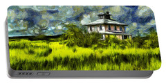 The Pink House In Salt Marsh-van Gogh Style Portable Battery Charger
