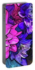 The Pink Petals With The Purple And Blue Flowers Portable Battery Charger