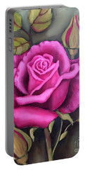 The Pink Rose Portable Battery Charger by Inese Poga
