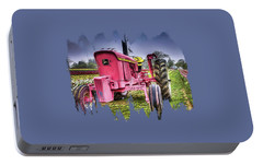 Portable Battery Charger featuring the photograph The Pink Tractor At The Wooden Shoe Tulip Farm by Thom Zehrfeld