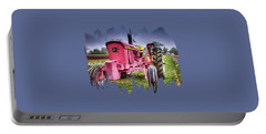 The Pink Tractor At The Wooden Shoe Tulip Farm Portable Battery Charger by Thom Zehrfeld