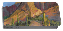 Portable Battery Charger featuring the painting The Pinnacle At Goldfield Mountains by Diane McClary