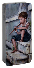 Portable Battery Charger featuring the painting The Piper by Judy Kirouac