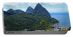 Portable Battery Charger featuring the photograph The Pitons, St. Lucia by Kurt Van Wagner