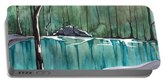 Portable Battery Charger featuring the painting The Pond by Pat Purdy