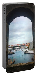 The Port Of Angra Do Heroismo From A Window In Forte De Sao Sebastiao Portable Battery Charger