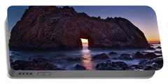 The Portal - Sunset On Arch Rock In Pfeiffer Beach Big Sur In California. Portable Battery Charger