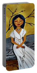 Portable Battery Charger featuring the painting The Power Of The Rosary Religious Art By Saribelle by Saribelle Rodriguez
