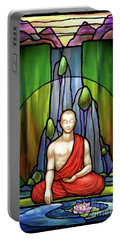 Portable Battery Charger featuring the digital art The Praying Monk by Randy Wollenmann