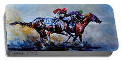 Portable Battery Charger featuring the painting The Preakness Stakes by Hanne Lore Koehler