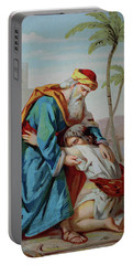 The Prodigal Son, Biblical Parable Of The Gospel Of Luke, Chromolithograph From A Home Bible, 1870 Portable Battery Charger