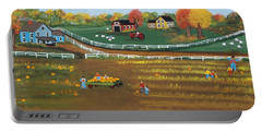 Portable Battery Charger featuring the painting The Pumpkin Patch by Virginia Coyle