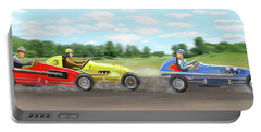 Portable Battery Charger featuring the digital art The Racers by Gary Giacomelli