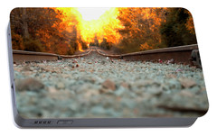 Portable Battery Charger featuring the digital art The Railroad Tracks From A New Perspective by Chris Flees