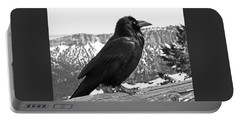 The Raven - Black And White Portable Battery Charger by Rona Black