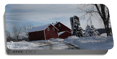 The Red Barn In The Snow Portable Battery Charger