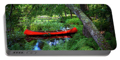 The Red Canoe On The Lake Portable Battery Charger