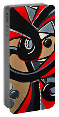 Red Black Abstract Art Painting, Swirl Acrylic Painting Portable Battery Charger