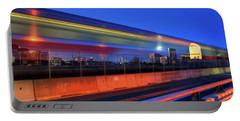 Portable Battery Charger featuring the photograph The Red Line Over The Longfellow Bridge by Joann Vitali