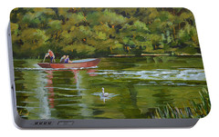 Portable Battery Charger featuring the painting The Red Punt by Murray McLeod