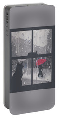 Portable Battery Charger featuring the painting The Red Umbrella by Quwatha Valentine