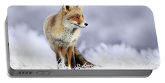 The Red, White And Blue _ Red Fox In The Winter Portable Battery Charger