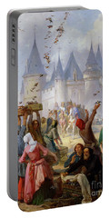 The Return Of Saint Louis Blanche Of Castille To Notre Dame Paris Portable Battery Charger