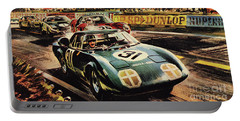 The Revolutionary Rover Brm At The Famous Le Mans Racing Track In 1963 Portable Battery Charger