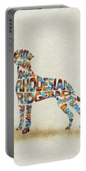 Portable Battery Charger featuring the painting The Rhodesian Ridgeback Dog Watercolor Painting / Typographic Art by Inspirowl Design